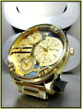 Men's Large OVERSIZED 4 Time Zone NY London Round Gold Dressy WRIST WATCH 59mm