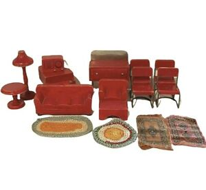 Lot of Vintage Wood & Metal Miniature Dollhouse Furniture Red Living Room Piano