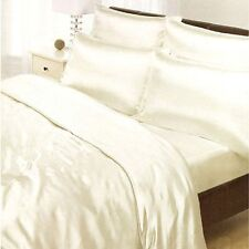 CREAM SATIN SINGLE DUVET COVER, FITTED SHEET, 2 x PILLOWCASES SET NEW BEDDING