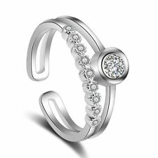 Promise Adjustable Zircon Silver Plated Austrian Crystal Joint Knuckle Ring