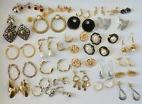 Vintage Pierced Earrings Lot 35 Pairs Power 80's Rhinestone