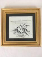 Elizabeth Jones Aujla California Regionalism Coastal Beach Cliffs Palms Drawing