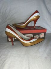 Vintage Tweedies Gold White And Orange Shoes With Original Box