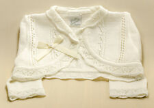 Pretty Original  Knitted White Pearl & Bow Bolero size 6m-5years style JP35100