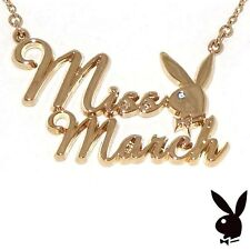 Playboy Necklace MISS MARCH Bunny Pendant Gold Plated Chain Swarovski Crystal 17