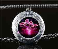 Rose Butterfly Photo Cabochon Glass Tibet Silver Locket Pendant Necklace
