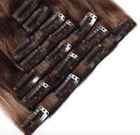 8PCS Clip in Remy Hair Extensions 100% Real Human Hair Extension Double Weft UK
