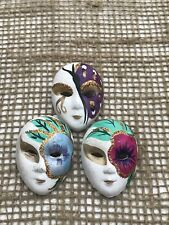 VINTAGE VENETIAN STYLE MASK CERAMIC BROOCHES x 3