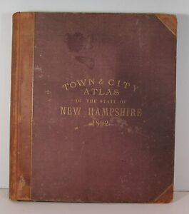 ORIGINAL 1892 HURD ATLAS OF NEW HAMPSHIRE STATE COMPLETE COLOR MAPS AND VIEWS