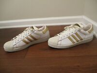 Rare Classic 2008 Used Worn Size 13 Adidas Superstar Shoes White Gold Red Brown