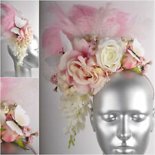 Cream Pink Feather Butterfly Orchid Rose Flowercrown Fascinator