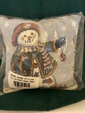 New ListingLongaberger Door Knob Tapestry Pillow Snowman Never Used Made In The Usa