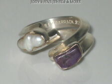 EXQUISITE ESTATE STERLING SILVER FW PEARL AMETHYST RING Size 7 LILLY BARRACK