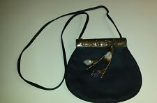 "Handmade Black Leather Purse with Quartz Crystals long strap 24"" beautiful"