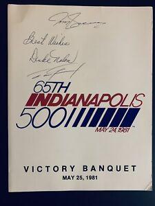 Dan Gurney,Duke Nalon,Tom Sneva Signed 1981 Indy 500 Victory Banquet Program