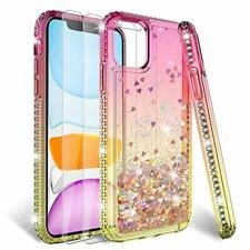 HATOSHI iPhone 11 Case with Screen Protector for Girls Glitter Shiny Pink Gold