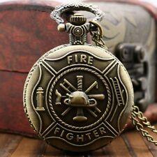 Bronze Pompier Montre de poche de quartz de collier pendentif homme cadeau P106