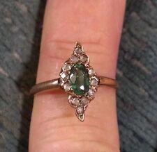 Antique Georgian 1830s 1ct Colombian Emerald MINE Cut Diamond 14k Gold Ring
