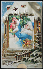 "Christmas Mechanical ""Shutter"" Blue Suited Santa Claus Boy 1913 Postcard"