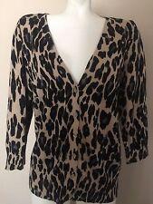 AB Studio Tan Black Cheetah or Flower Print V Neck Cardigan Sweater Womens SZ XL