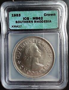 1953 SOUTHERN RHODESIA SILVER CROWN ICG MS62