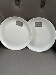 Jamie Oliver White On White Small Tea Plates X 2 Size 19cm With Labels.New