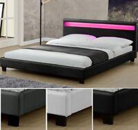 Design en Cuir+LED  Lit+Sommier Double 140 160 180 x 200 bed BLANC NOIR ou GRIS