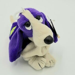 Applause Violet Hush Puppies Bean Bag  Plush Purple Puppy Dog Vintage Toy 6""