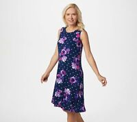 Susan Graver Scoop Neck Liquid Sleeveless Dress (Navy/Dot Floral, XS) A352424