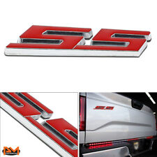 """SS"" Polished Metal 3D Decal Red Emblem For Chevrolet Camaro/Impala/Chevelle"