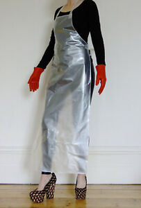Suzie High Apron Shiny Pearly Pinny Pinnie Plastic Overall 1 Size Unisex LONG