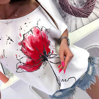 Fashion Women Casual Floral Short Sleeve T-Shirt Blouse Loose Printed Tops Tee