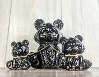 Vintage MCM Mamma Bear and Two Cubs- On A Leash Figurines Ceramic Black & Gold