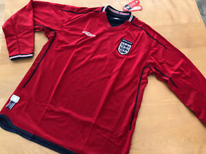 England World Cup 2002 New Authentic Umbro Reversible Jersey Red/Navy Size L