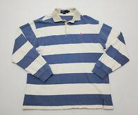 VTG Polo Ralph Lauren Men's Long Sleeve Rugby Shirt Blue/White Stripe Large