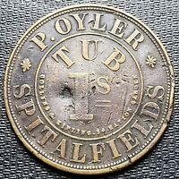 British P. Oyler Spitalfields Tub 1 Shilling Token - RARE - 32mm - Dent