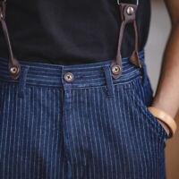 Workwear Vintage Striped Bib Pants Men's 10.5oz Denim Suspender Jeans Trousers