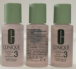 3 CLINIQUE clarifying lotion 3 Combo Oily Skin 1oz NEW