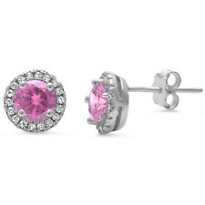 Halo Pink Cz & White Cz .925 Sterling Silver Earrings
