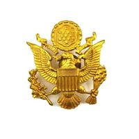 Vintage Gold Tone US Army Officer Eagle Military Hat Badge Screwback Pin