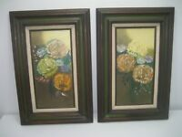 Vintage Pair of Oil Paintings of Flowers On Canvas Matted Wood Frame Signed 1974