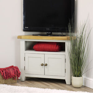 """Arklow Grey Oak Corner TV Unit For Screens Up To 38""""   Painted TV Stand Cabinet"""