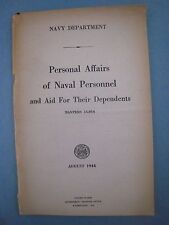 Original  WWII MANUAL...' Naval Personnel '...1944....Navy Dept.