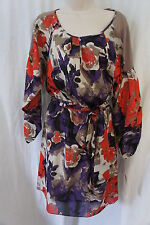 Nine West Dress Sz 4 Beige Multi Floral Belted Long Sleeve Business Cocktail