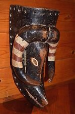 Antique Wood Ram Mask Red White Pigment Bobo Tribe Of Burkina Faso & Mali Africa