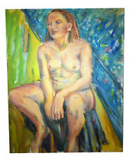 """Vintage 30"""" Oil Painting Canvas Nude Woman Sitting Signed Evelyn McElroy"""