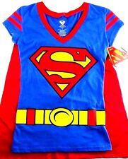 Women Superman! Super man Shirt Top Red Cape Big Logo Halloween Costume Costlay