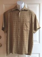 True Grit Men's Brown Plaid Short Sleeve Woven Shirt mens sz S