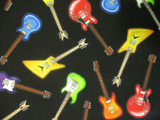 ROCKER GUITARS ROCK /& ROLL COLORFUL CREAM COTTON FABRIC BTHY