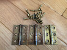3 VINTAGE CABINET HINGES. 3-HOLE. SOLID. NICE CONDITION. 1 Brass. 2 Steel